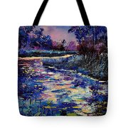 Mysterious Blue Pond Tote Bag