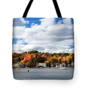 Mystic River In Autumn Tote Bag