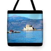 Naflion Greece Harbor Fortress Tote Bag