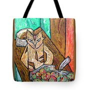 Naive Cat With Apples Tote Bag