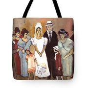 Naive Wedding Large Family White Bride Black Groom Red Women Girls Brown Men With Hats And Flowers Tote Bag