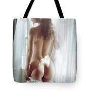 Naked Back Of A Beautiful Half Nude Woman Standing By The Window Tote Bag