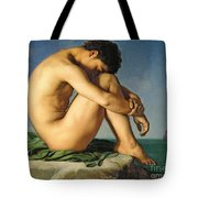 Naked Young Man Sitting By The Sea, 1836 Tote Bag