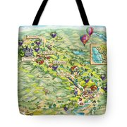 Napa Valley Illustrated Map Tote Bag