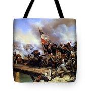 Napoleon Bonaparte Leading His Troops Over The Bridge Tote Bag