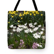 Narcissus And Daffodils In A Spring Flowerbed Tote Bag