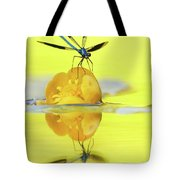 Narcissus - Damselfly Reflected In The River Tote Bag