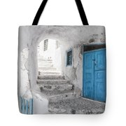 Narrow Alley And Stairway On Santorini Tote Bag