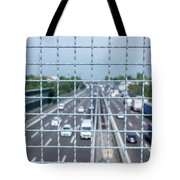 Narrow Depth Of Field Looking Down From Railing Onto Busy Highway Tote Bag