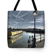 Narrowboat Idly Dan At Barton Marina On Tote Bag