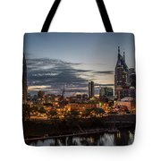 Nashville Broadway Street Shelby Street Bridge Downtown Cityscape Art Tote Bag