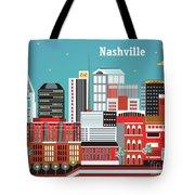 Nashville Tennessee Horizontal Skyline Tote Bag