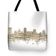 Nashville Tennessee Skyline Sheet Music Tote Bag