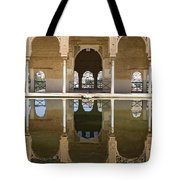 Nasrid Palace Arches Reflection At The Alhambra Granada Tote Bag