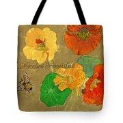Nasturtiums With Bumble Bee Tote Bag