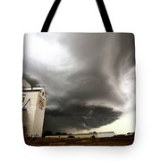 Nasty Looking Cumulonimbus Cloud Behind Grain Elevator Tote Bag