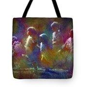 Native American - 5 Girls Dancing In The Moonlight Tote Bag