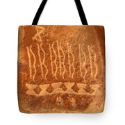 Native American Petroglyph On Orange Sandstone Tote Bag