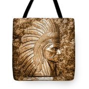 Native American Statue Copper  Tote Bag