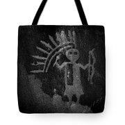 Native American Warrior Petroglyph On Sandstone Tote Bag