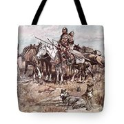 Native Americans Plains People Moving Camp Tote Bag
