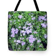 Natural Bush With Purple Small Flowers. Tote Bag