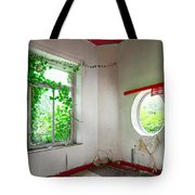 Nature Takes Over Oval Window -urbex Tote Bag