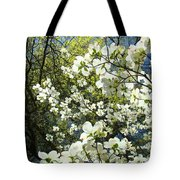 Nature Tree Landscape Art Prints White Dogwood Flowers Tote Bag