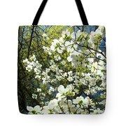 Nature Tree Landscape Art Prints White Dogwood Flowers Tote Bag