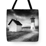 Nauset Light - Black And White Lighthouse Tote Bag