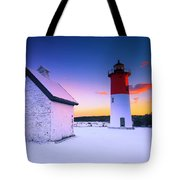 Nauset Lighthouse Sunset,  First Snow Tote Bag