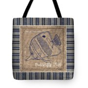 Nautical Stripes Butterfly Fish Tote Bag