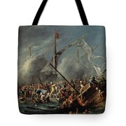 Naval Battle Between Spanish And Turks Tote Bag
