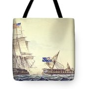 Naval Engagement Between The Uss Frigate Constitution And Hms Frigate Java Tote Bag