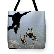 Navy Seals Jump From The Ramp Of A C-17 Tote Bag