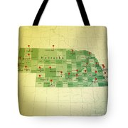 Nebraska Map Square Cities Straight Pin Vintage Tote Bag