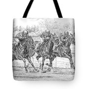 Neck And Neck - Horse Racing Art Print Tote Bag