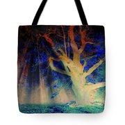 Negative Tree And Sunbeams Tote Bag
