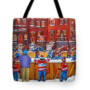 Neighborhood  Hockey Rink Tote Bag