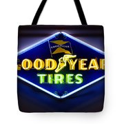 Neon Goodyear Tires Sign Tote Bag