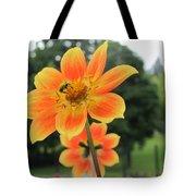 Neon Orange Flower Tote Bag