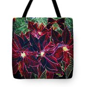 Neon Poinsettias Tote Bag