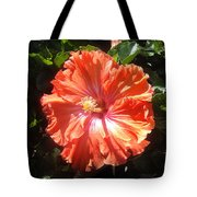 Neon-red Hibiscus Flowers 6-17 Tote Bag