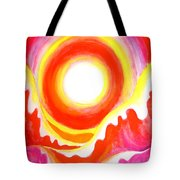 Neon Red Sky And Sea Tote Bag