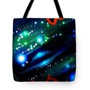 Neon Stars, Green Galaxy And Ufo Tote Bag