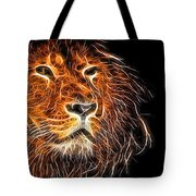 Neon Strong Proud Lion On Black Tote Bag