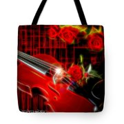 Neons Violin With Roses Tote Bag