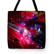 Neons Violin With Roses With Space Effect Tote Bag