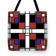 Neoplasticism Symmetrical Pattern In Well Read Red Tote Bag