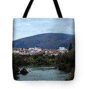 Neretva River And Mostar City And Hills With Mosque Minaret Bosnia Herzegovina Tote Bag
